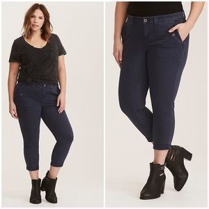 Torrid | Cropped Twill Military Pant Blue Size 18
